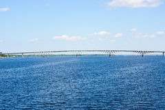 Saratov Bridge, crossing the Volga River Royalty Free Stock Image