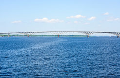 Saratov Bridge, crossing the Volga River Stock Images