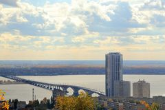 Saratov city. Bridge over the Volga, Saratov-Engels, Russia. View from the Sokolovaya Mountain. Stock Photography