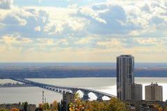 Saratov city. Bridge over the Volga, Saratov-Engels, Russia. View from the Sokolovaya Mountain. Stock Photos