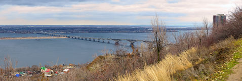Saratov City. Road bridge over river Volga. Russia Royalty Free Stock Images