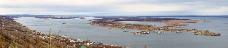 Saratov. Panorama of island Zelenyy on Volga River. Russia Stock Images
