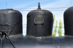 SARATOV, RUSLAND - MEI 6, 2017: het teken op de stoomtrein Stock Afbeelding