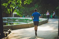 People go in for sports every morning at Gorky Park royalty free stock images