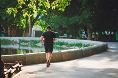 People go in for sports every morning at Gorky Park stock photos