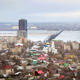 Saratov. Russia. Road bridge over river Volga Stock Photo