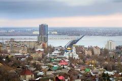 Saratov. Russia. Road bridge over river Volga Royalty Free Stock Photography