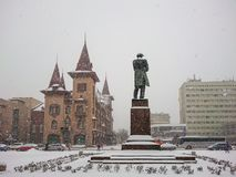 Saratov State Conservatoire. Was opened in 1912. Russia. Monument To Nikolay Gavrilovich Chernyshevsky. Winter day. Snowfall.  Royalty Free Stock Images