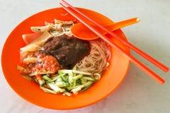 Sarawak bihun belacan with sotong, popular cuisine in Kuching. Sarawak bihun belacan with sotong, popular street food cuisine in Kuching, Malaysia stock photography
