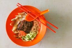 Sarawak bihun belacan with sotong, popular cuisine in Kuching. Sarawak bihun belacan with sotong, popular street food cuisine in Kuching, Malaysia royalty free stock photography