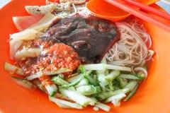 Sarawak bihun belacan with sotong, popular cuisine in Kuching. Sarawak bihun belacan with sotong, popular street food cuisine in Kuching, Malaysia royalty free stock images