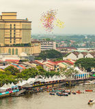 Sarawak Kuching Water Festival, a lot of ballons are released to the sky Stock Image
