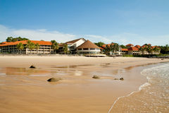Sarawak, Malaysia. MAY 29: View of Damai beach and Damai Puri Resort & Spa on MAY 29, 2012. Damai Puri Resort & Spa showcases 207 guestrooms and suites and stock images