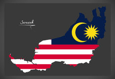 Sarawak Malaysia map with Malaysian national flag illustration Stock Images