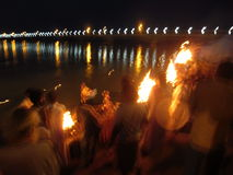 Sarayu aarti at the banks of River Sarayu Royalty Free Stock Photo