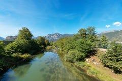 Sarca-Fluss- Fiume Sarca - Trentino Italien Lizenzfreie Stockbilder