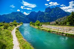The Sarca river in Nago-Torbole royalty free stock photos