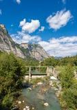 Sarca River - Trentino Alto Adige Italy. The Sarca River with old dam in the Sarca Valley - Trentino Alto Adige, Italy, Europe royalty free stock photography
