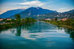 The Sarca river in a small town Torbole stock images