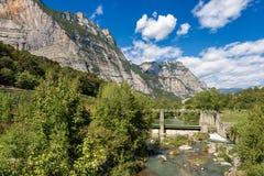 Sarca River - Trentino Alto Adige Italy. The Sarca River with old dam in the Sarca Valley - Trentino Alto Adige, Italy, Europe royalty free stock photos
