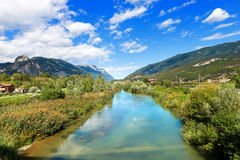 Sarca River - Trentino Italy. The Sarca River in the Sarca Valley, Trentino Alto Adige, Italy, Europe royalty free stock image
