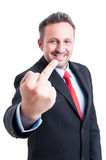 Sarcastic and ironic business man Royalty Free Stock Image