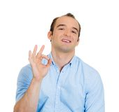 Sarcastic man, OK sign Stock Image