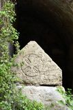 Sarcofaag, Benedictineklooster van Abu Ghosh, Israël Royalty-vrije Stock Afbeeldingen