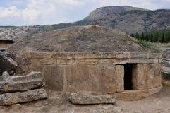 Sarcofaag - Oude Grieks-Romeinse en Byzantijnse stad van Hierapolis Royalty-vrije Stock Foto