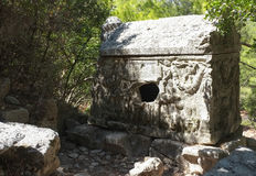 Sarcofaag van Alkestis, Ruïnes Olympos Stock Foto's
