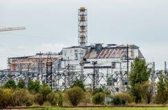 Sarcofago della centrale atomica di Cernobyl immagini stock libere da diritti