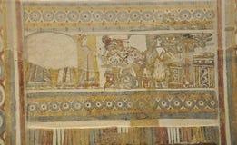 Sarcofagus-Dekorationen mit Malereiszenen vom Gerichtslebensstil lizenzfreie stockfotos