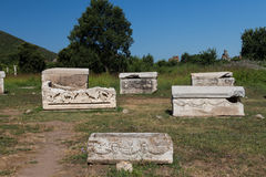 Sarcophage dans la ville antique d'Ephesus Photos stock
