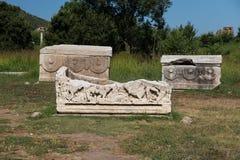 Sarcophage dans la ville antique d'Ephesus Photographie stock libre de droits