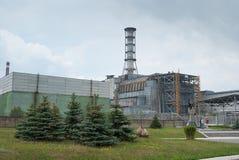 Sarcophage de la quatrième unité du St d'énergie nucléaire de Chernobyl Images libres de droits