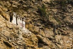 Sarcophagi on a mountain slope. At Karajia, Peru royalty free stock photo