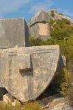 Sarcophagi van de steen in Turkije Stock Fotografie