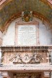 Sarcophagus of the Abbots - Sarcofago degli Abati - on the external façade of the little church of Sant`Apollinare, Trento, Tren. Tino Alto Adige, Italy stock photography