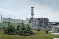 Sarcophagus of the fourth unit of the Chernobyl nuclear power st Royalty Free Stock Images