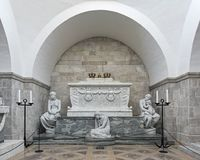 Sarcophagus of king Christian IX and queen Louise in Roskilde Cathedral, Denmark Stock Image