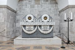 Sarcophagus of king Frederik VIII and queen Louise in Roskilde Cathedral, Denmark Stock Photography