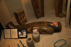 Egyptian Sarcophagus with other artifacts Royalty Free Stock Photos