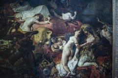Sardanapale死亡  在帆布的油画Eugène德拉克洛瓦 免版税库存照片