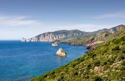 Sardegna, coast of Sulcis. View of the coast near Masua, in Sardinia Royalty Free Stock Images