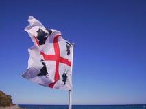 Sardegna flag. Blue sky and sea Stock Photography