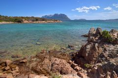 Sardegna, Gallura, San Teodoro. Profumi di una natura ancora incontaminata, si vede anche l`isola di tavolara., Italy Royalty Free Stock Image