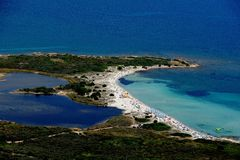 Sardegna-Isuledda. Aerial view of Isuledda beach stock photography