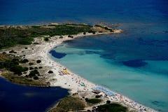 Sardegna-Isuledda. Aerial view of Isuledda beach stock images