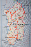 Sardegna, Italy. Map Photography: Sardegna on a Road Map royalty free stock images