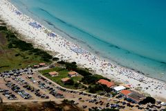 Sardegna-La Cinta-. Aerial view of La Cinta beach royalty free stock photo